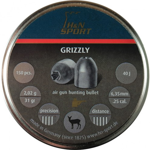 Пули H&N Grizzly 2,02 г (150 штук) 6,35 мм