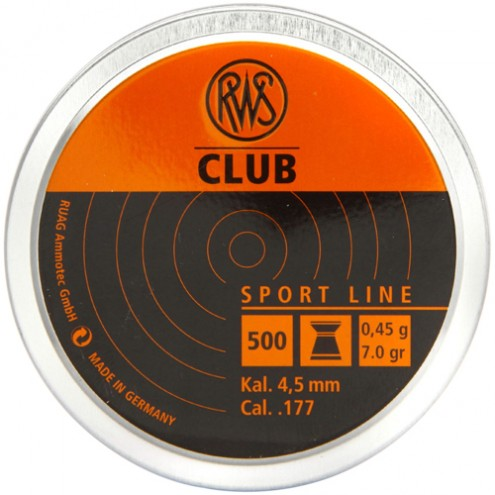 Пули RWS Club 0,45 г (500 штук) 4,5 мм