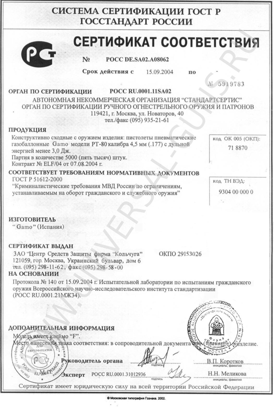 сертификат для пневматической винтовки